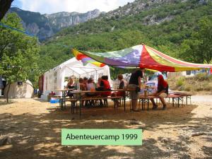 abenteuercamp 1999 Gemeinschaftsbereich des Familiencamps