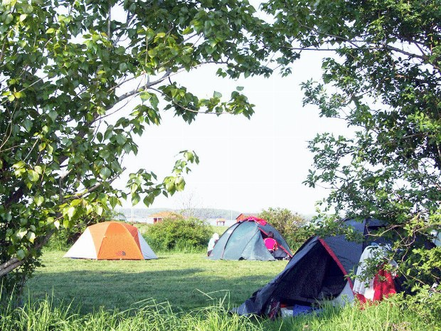 Das aufgebaute Camp am Ufer