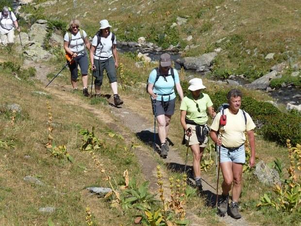 Eine Wandergruppe steigt den Berg hinauf