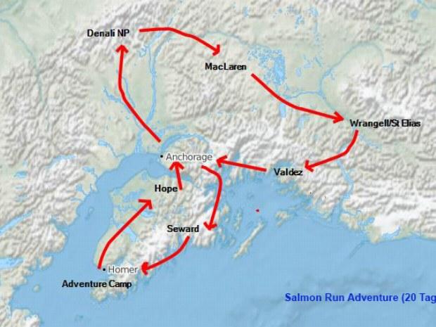 Landkarte mit Markierung der Route